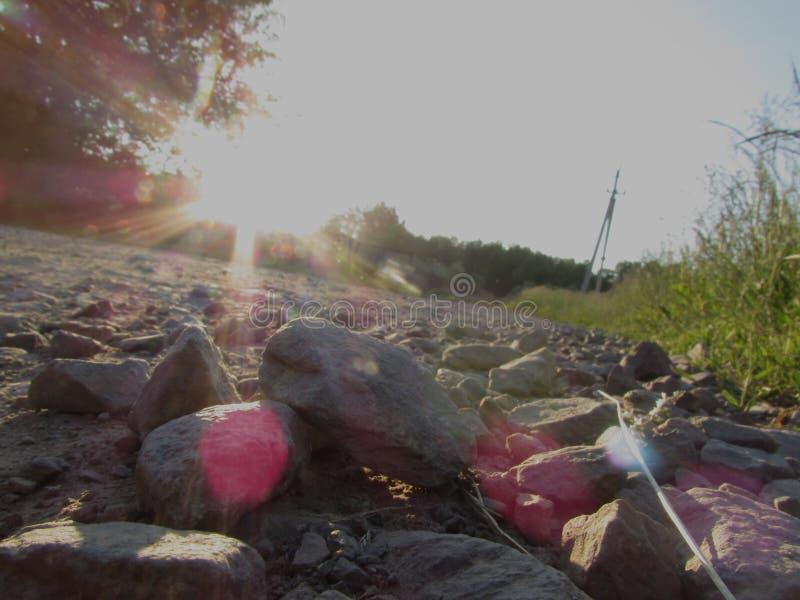 Der Rand des Straßenrands eines hellen felsigen hellen sonnigen Höhepunktes des Waldwegs und des grünen Sommergrases lizenzfreie stockfotografie
