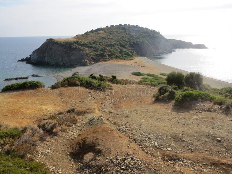 Der Rand der Sithonian-Halbinsel Der letzte Strand von Eden stockbilder
