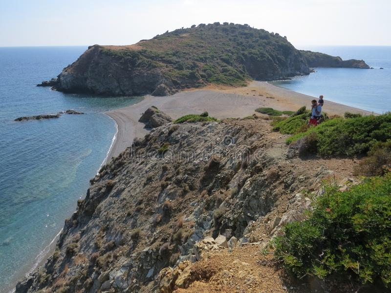 Der Rand der Sithonian-Halbinsel Der letzte Strand von Eden lizenzfreies stockbild