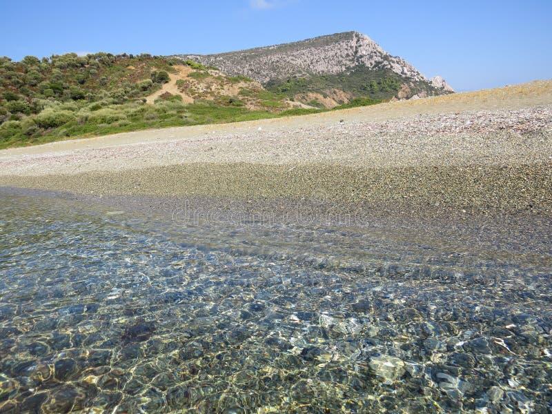 Der Rand der Sithonian-Halbinsel Der letzte Strand von Eden stockbild