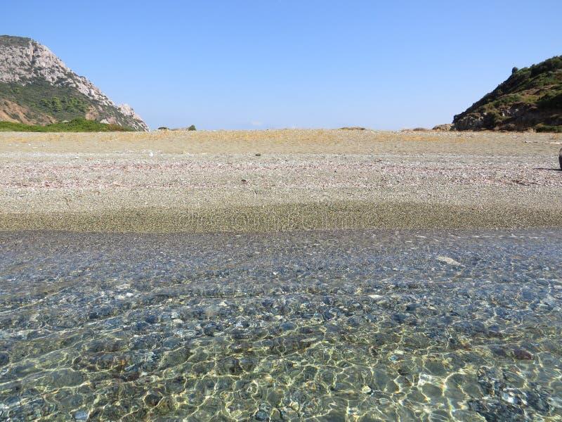 Der Rand der Sithonian-Halbinsel Der letzte Strand von Eden stockfotos