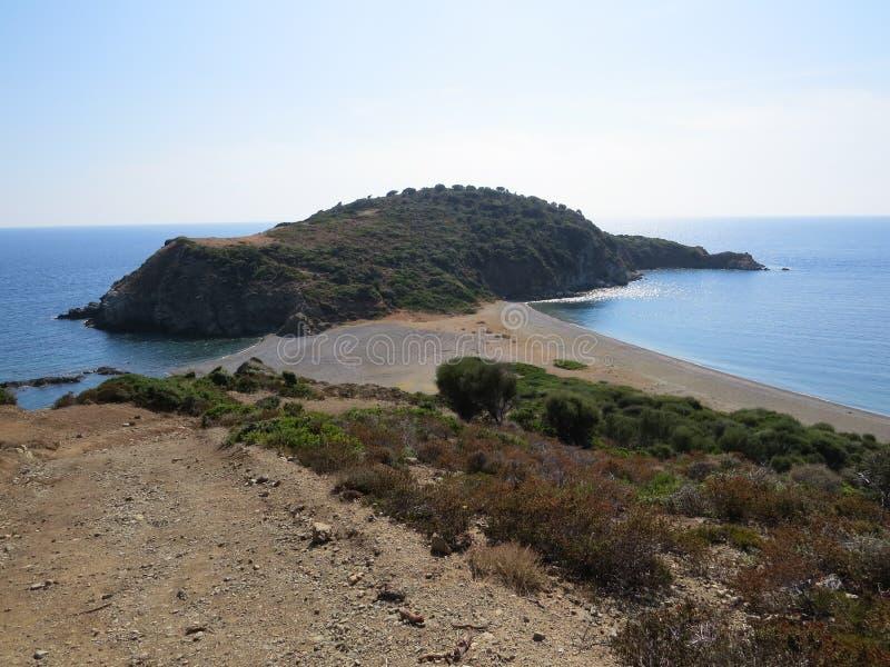 Der Rand der Sithonian-Halbinsel Der letzte Strand von Eden lizenzfreie stockfotografie
