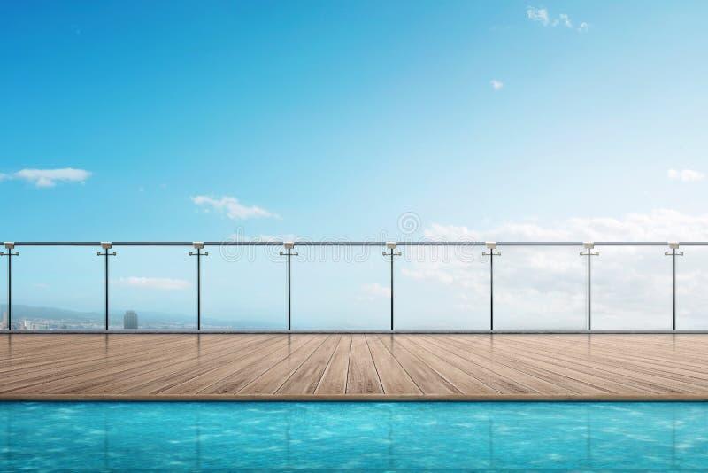 Der RandSwimmingpool auf dem Gebäudebalkon stockfotos
