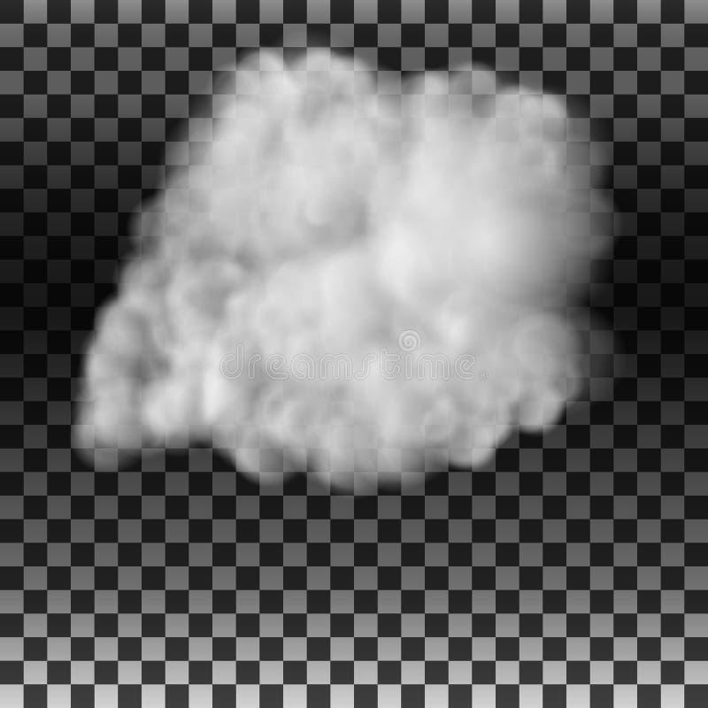Der Rauch oder der Nebel auf einem lokalisierten transparenten Hintergrund Spezialeffekt Weißer bewölkter Vektor, Vektorillustrat lizenzfreie abbildung