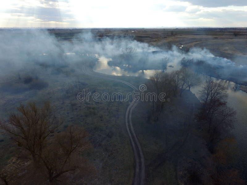 Der Rauch vom Brennen des Brummenbildes des trockenen Grases stockfoto
