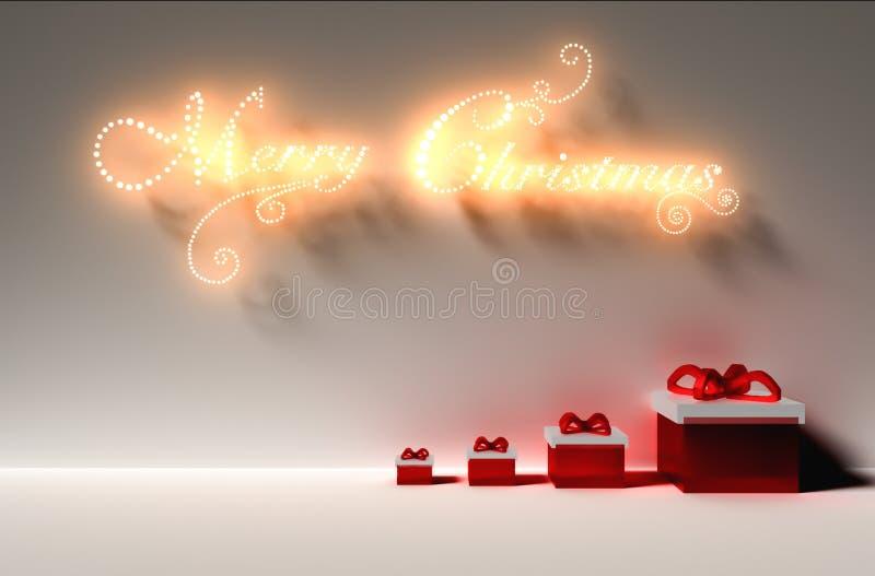 Der Raum, der mit zahlreichen Lichtern beleuchtet wurde, verzierte bereites, Weihnachten zu feiern lizenzfreie abbildung