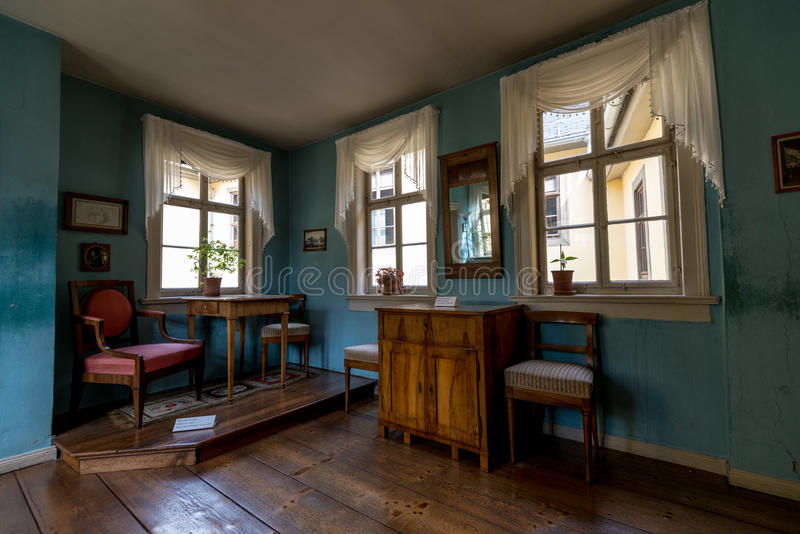Der Raum am Goethe-Haus in Weimar, Deutschland stockbilder