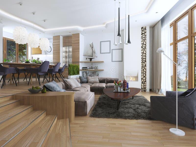 Der Raum ist ein Studio mit Küche und Speiseraum und ein lebendes r lizenzfreie stockfotos