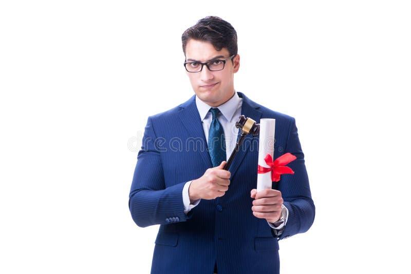 Der Rechtsanwaltjurastudent mit einem Hammer lokalisiert auf weißem Hintergrund stockbild