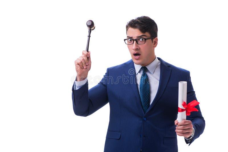 Der Rechtsanwaltjurastudent mit einem Hammer lokalisiert auf weißem Hintergrund stockfoto