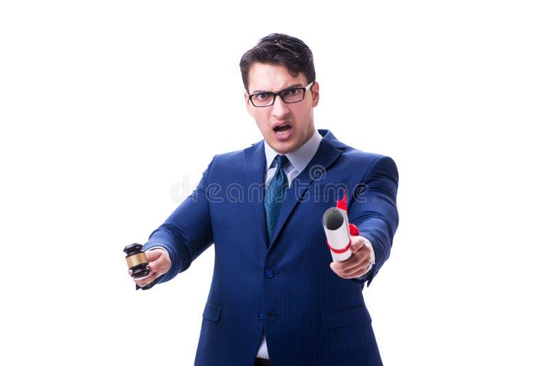 Der Rechtsanwaltjurastudent mit einem Hammer lokalisiert auf weißem Hintergrund lizenzfreie stockfotografie