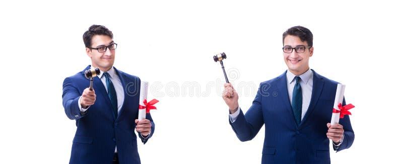 Der Rechtsanwaltjurastudent mit einem Hammer lokalisiert auf weißem Hintergrund stockfotos