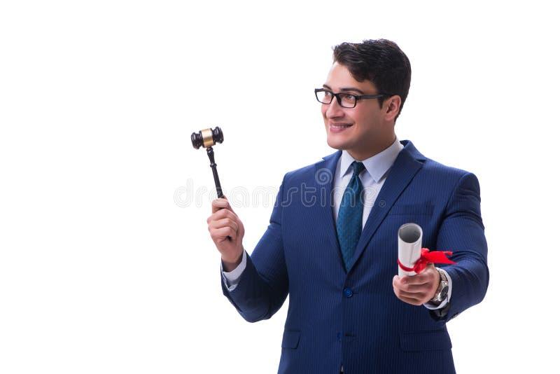 Der Rechtsanwaltjurastudent mit einem Hammer lokalisiert auf weißem Hintergrund lizenzfreies stockfoto