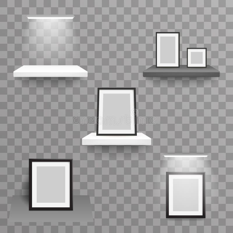 Der Regallichtlampenwand des realistischen Entwurfs des Ausstellungswanddekorationsfotorahmens 3d hängender transparenter Hinterg vektor abbildung