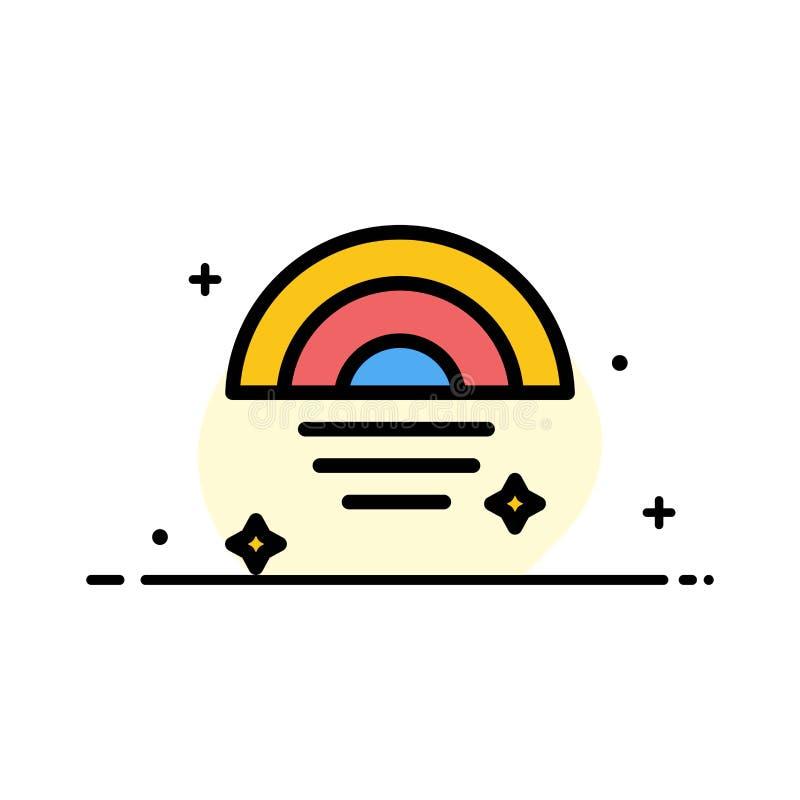 Der Regenbogen, regnerisch, Himmel, Wetter-Geschäfts-flache Linie füllte Ikonen-Vektor-Fahnen-Schablone lizenzfreie abbildung