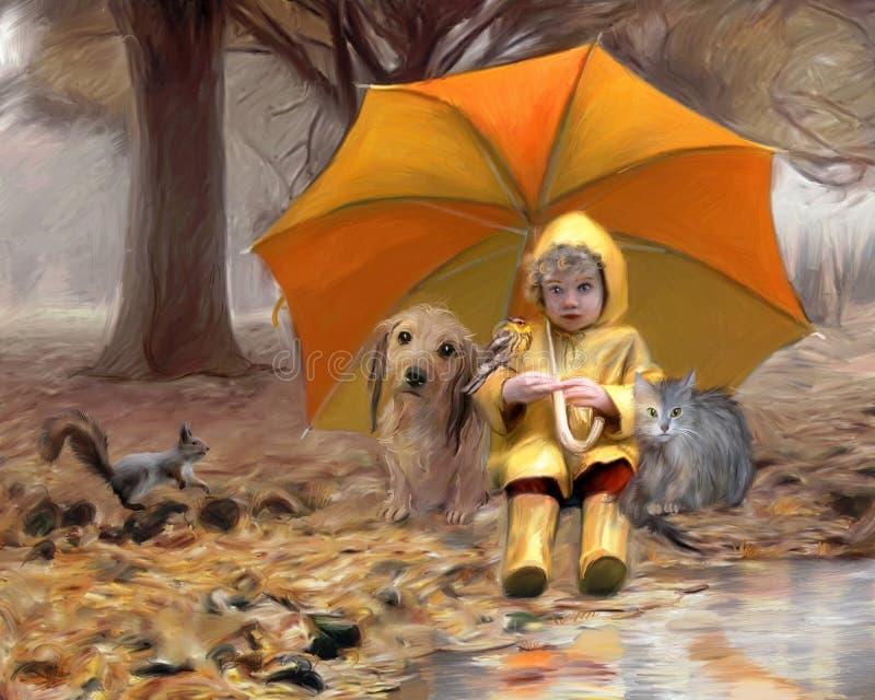 Der Regenschirm lizenzfreie abbildung