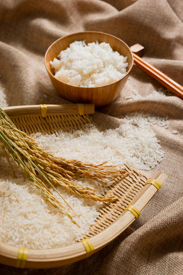 Der Reis auf Sackleinen lizenzfreies stockfoto