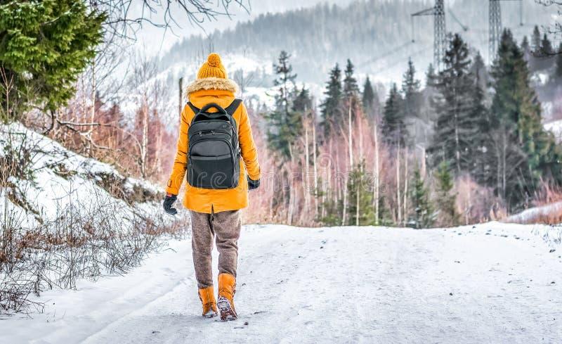 Der Reisende mit einem Rucksack gehend auf Schnee bedeckte Straße im Winterwald stockbilder