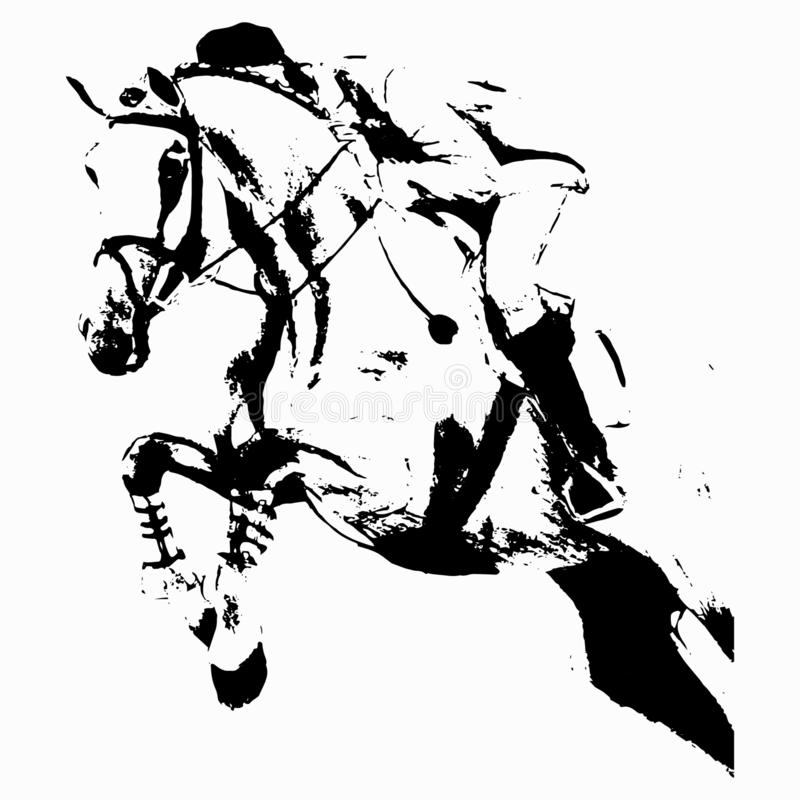 Der Reiter auf dem Pferd springt lizenzfreie abbildung