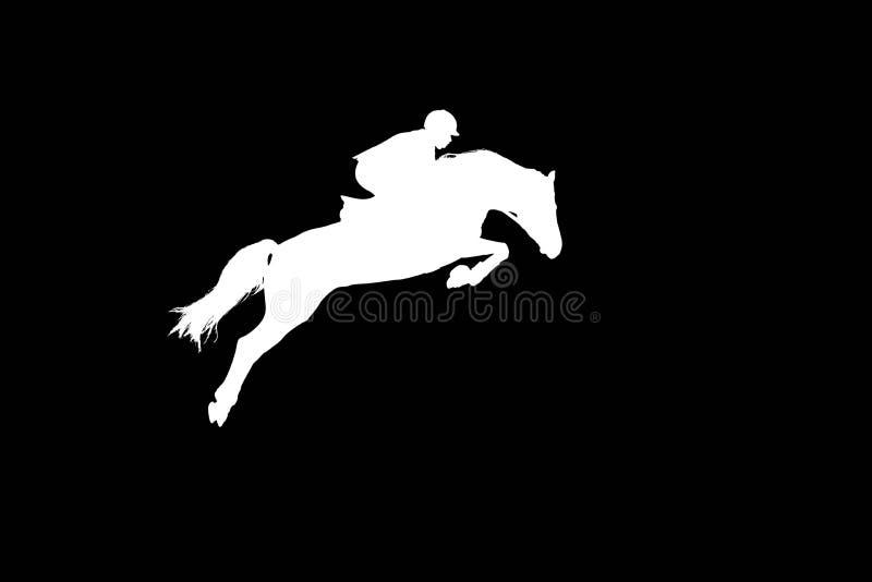 Der Reiter auf einem Pferd, das durch eine hohe Sperre springt lizenzfreies stockbild