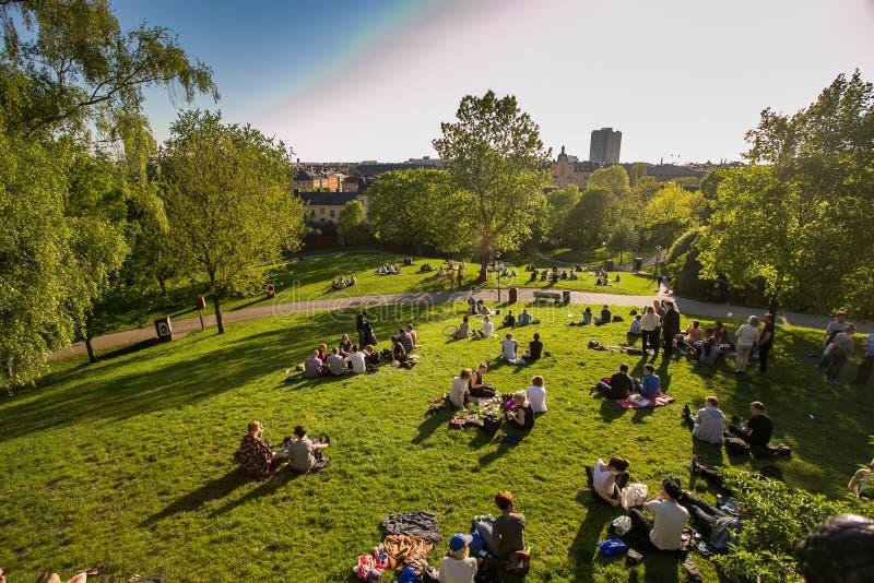 Der Rest der Leute in Schweden sind in Stockholm, Mittelstadt, Abend, grünes Gras im Park, Picknick lizenzfreie stockfotos