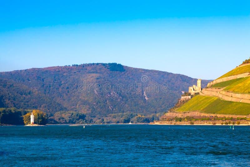 Der Rhein nahe Bingen, Deutschland stockbild