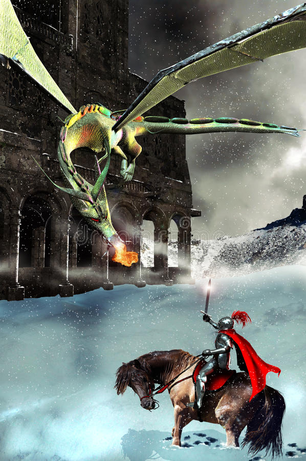 Der Ritter, der Drache und das Schloss stock abbildung