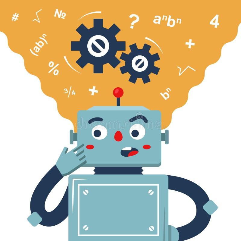 Der Roboter überlegt die Lösung des Problems vektor abbildung