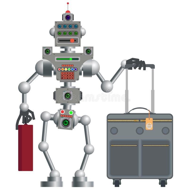 Der Roboter flog mit dem Flugzeug zum Bestimmungsort lizenzfreie abbildung