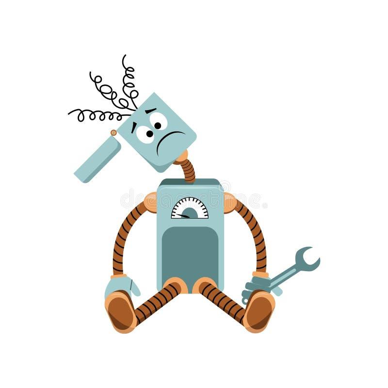 Der Roboter hat gebrochen, entspringt, haftend aus dem Kopf heraus und einen Schlüssel gehalten vektor abbildung