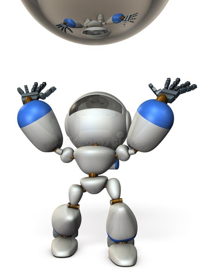 Der Roboter hebt den Wurf an stock abbildung
