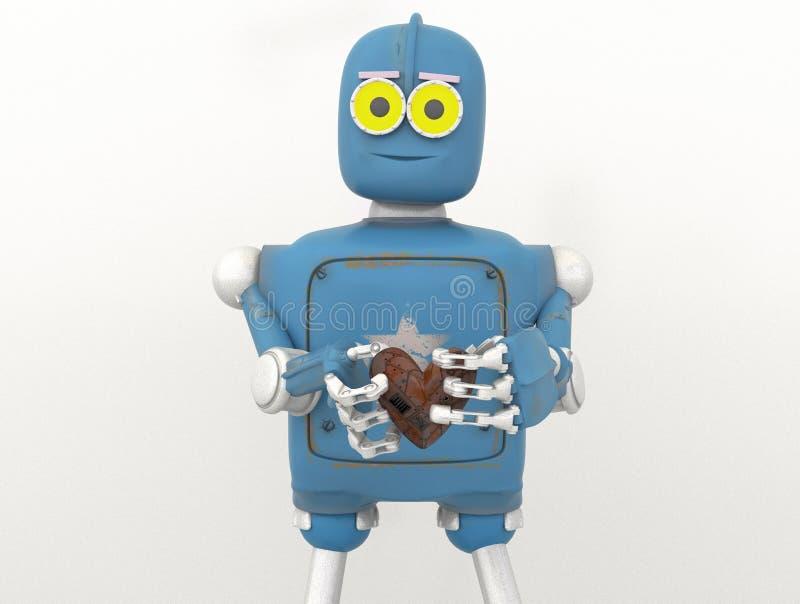 Der Roboter, der Herz, Metallherz hält, 3d übertragen stock abbildung
