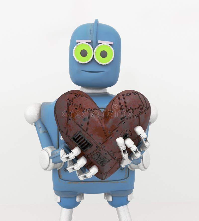 Der Roboter, der Herz, Metallherz hält, 3d übertragen lizenzfreie abbildung