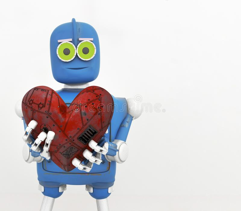 Der Roboter, der Herz, Metallherz hält, 3d übertragen vektor abbildung