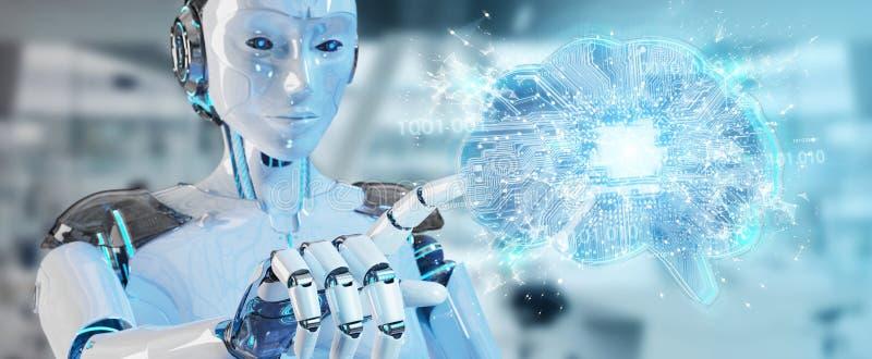 Der Roboter, der künstliche Intelligenz in einem digitalen Gehirn 3D schafft, ren lizenzfreie abbildung