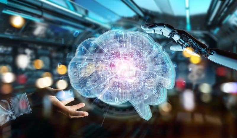 Der Roboter, der künstliche Intelligenz in einem digitalen Gehirn 3D schafft, ren stock abbildung