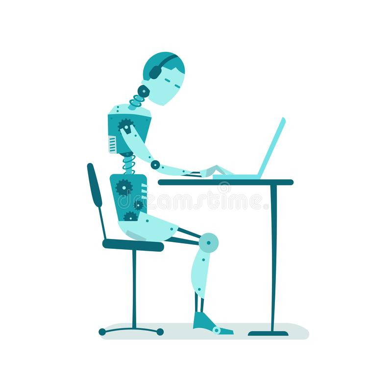Der Roboter sitzt am Tisch Büroarbeit stock abbildung