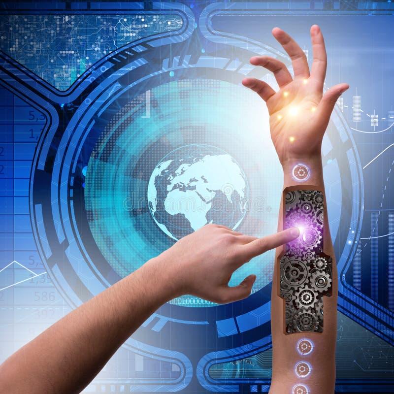 Der Roboterhandpressenknopf im futuristischen Konzept stockbild