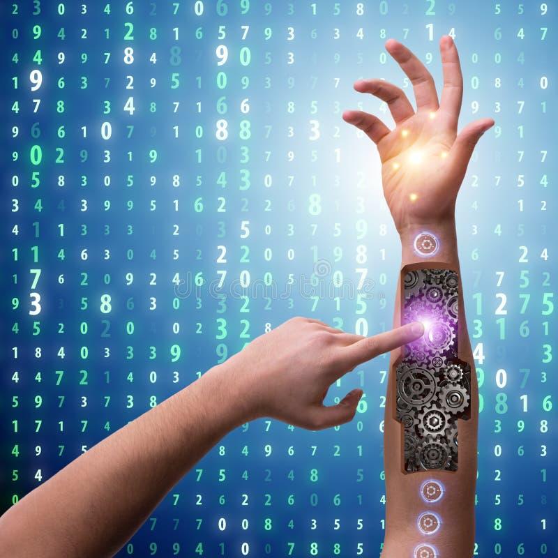 Der Roboterhandpressenknopf im futuristischen Konzept lizenzfreie stockbilder