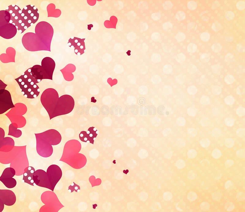 Der romantische Hintergrund des Valentinsgrußes Tupfenherztapete vektor abbildung