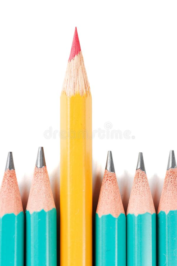 Der rote Bleistift Nahaufnahme auf Weiß stockfotos