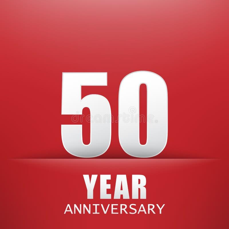 Der rote Hintergrund Fünfzig Jahre Jahrestag vektor abbildung