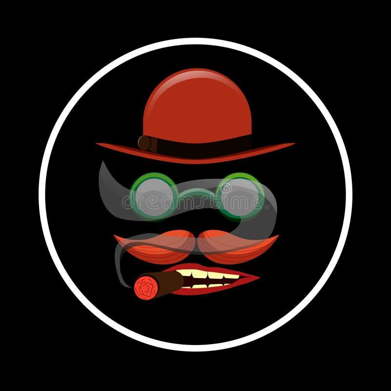 Der rote Hut und der Schnurrbart stockfoto