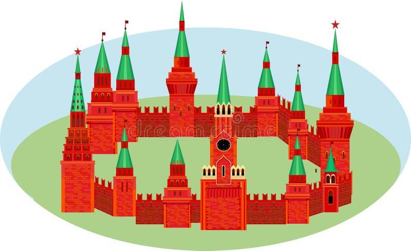 Der rote Kreml sind in Form eines Kreises auf dem Gras Festung w stock abbildung