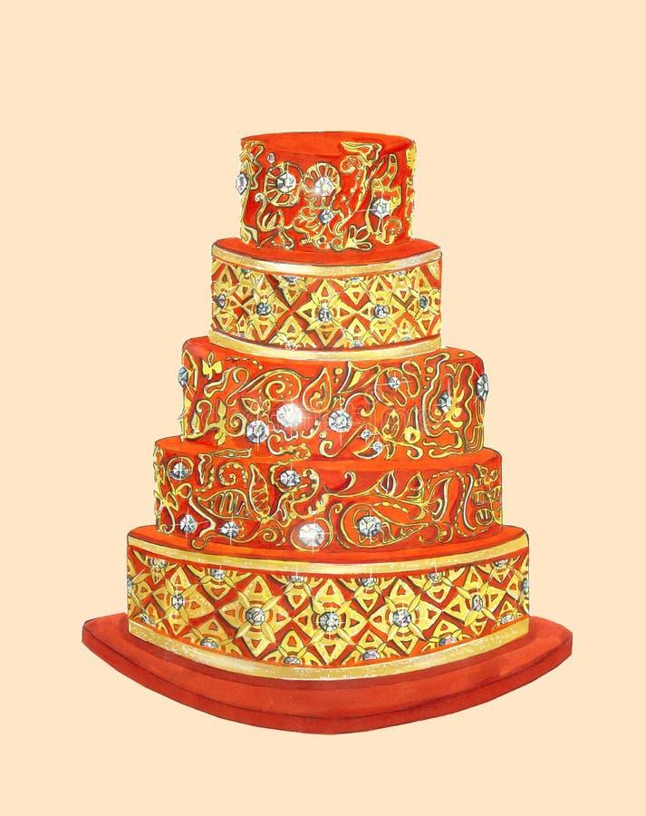 Der rote Kuchen mit Golddetails und -edelsteinen lizenzfreie stockfotos