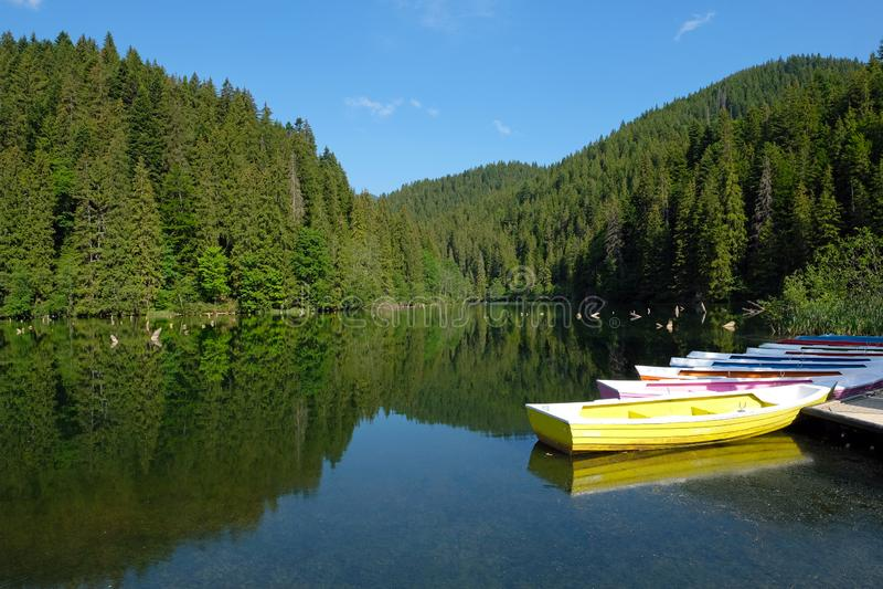 Der rote See Lacul Rosu, Rumänien stockfotos