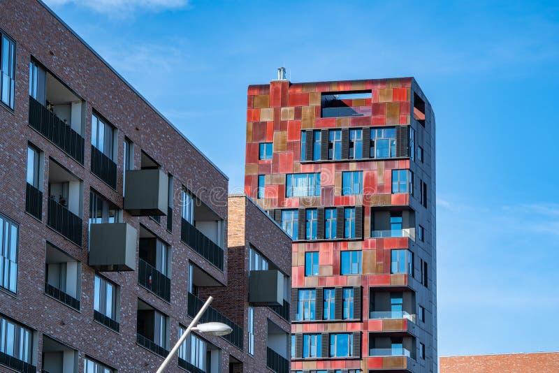 Der rote Zimt-Turm im HafenCity von Hamburg, Deutschland, Eur stockbilder