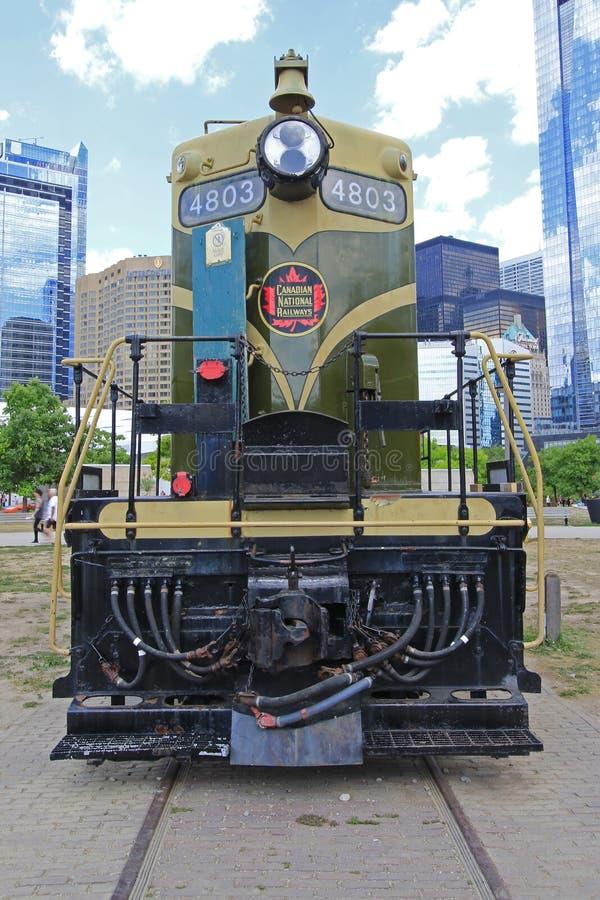 Der Roundhouse-Park in im Stadtzentrum gelegenem Toronto ist Haus des Toronto-Bahnmuseums und der Dampf-Pfeifen-Brauerei 7-25-201 stockfotografie