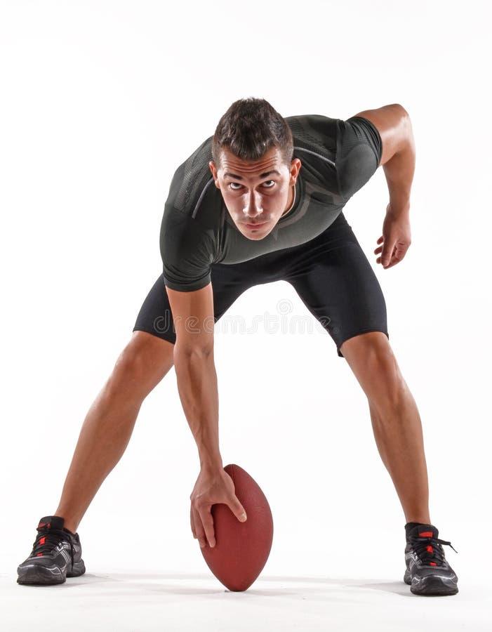 Der Rugbyspieler ist zum Spiel bereit stockfotos