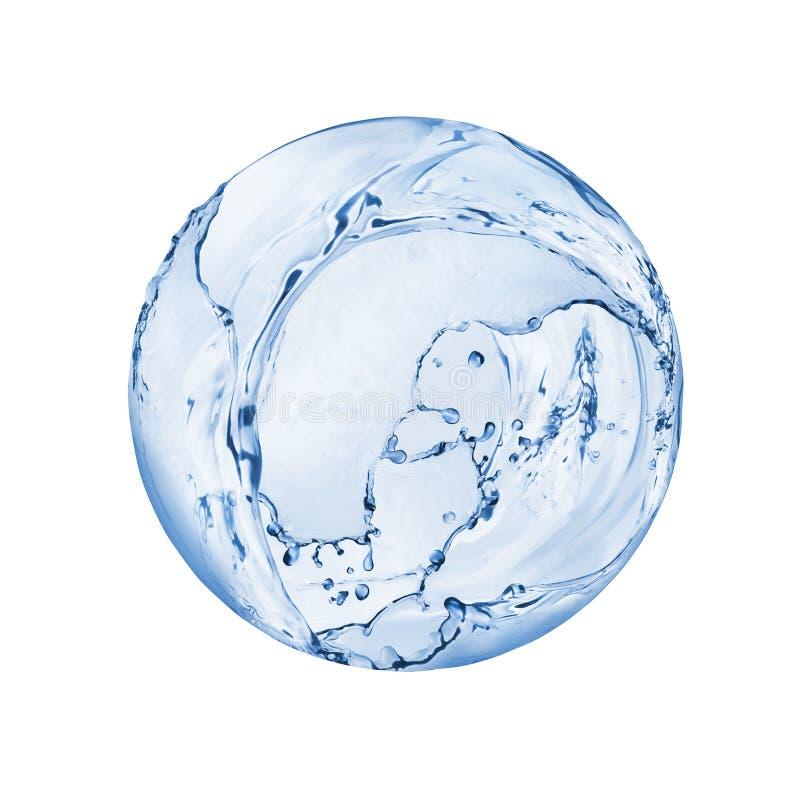 Der runde Bereich, der vom Wasser gemacht wird, spritzt lokalisiert auf weißem Hintergrund lizenzfreies stockfoto